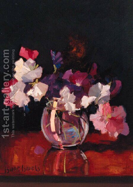 Sweet-peas in a rotund glass Vase by Isaac Israels - Reproduction Oil Painting
