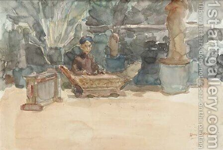 The Gamalan player by Isaac Israels - Reproduction Oil Painting