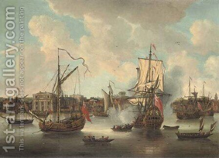 A flagship arriving in the Thames off Greenwich Hospital amidst anchored craft and other shipping on the river by Isaac Sailmaker - Reproduction Oil Painting