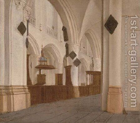 The interior of Saint Bavo's, Haarlem by Isaak Nickelen - Reproduction Oil Painting