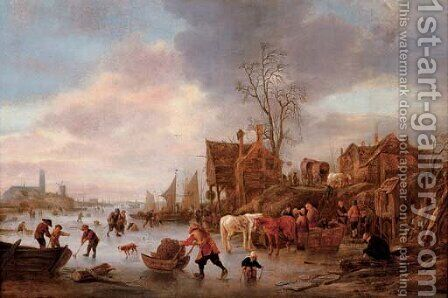 A winter landscape with villagers on a frozen canal by Isaack Jansz. van Ostade - Reproduction Oil Painting