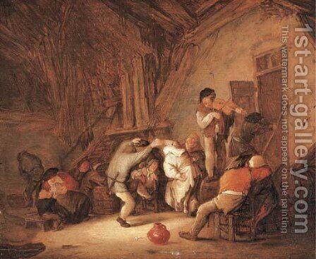 Peasants dancing and drinking in a tavern interior by Isaack Jansz. van Ostade - Reproduction Oil Painting