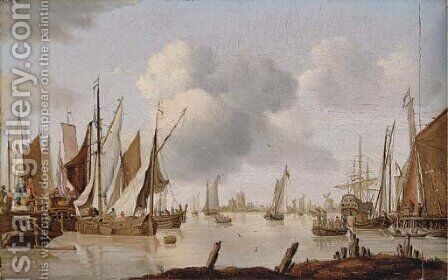 Dutch shipping off an estuary with a threemaster by Isaac Walraven - Reproduction Oil Painting