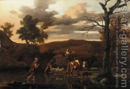 A river landscape with herdsmen, livestock and a cart by Isaack Croonenbergh - Reproduction Oil Painting
