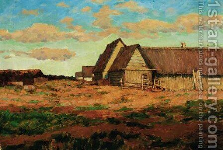 View of a rural Settlement by Isaak Ilyich Levitan - Reproduction Oil Painting