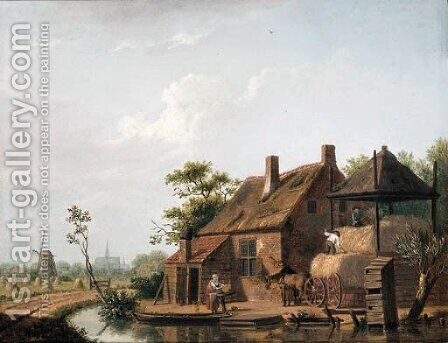 A farmstead by a canal by Isaak Ouwater - Reproduction Oil Painting