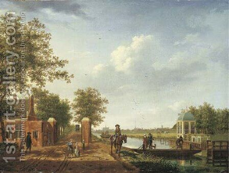 A view of Amsterdam from the 't Spaarne canal in Slooterdijk by Isaak Ouwater - Reproduction Oil Painting