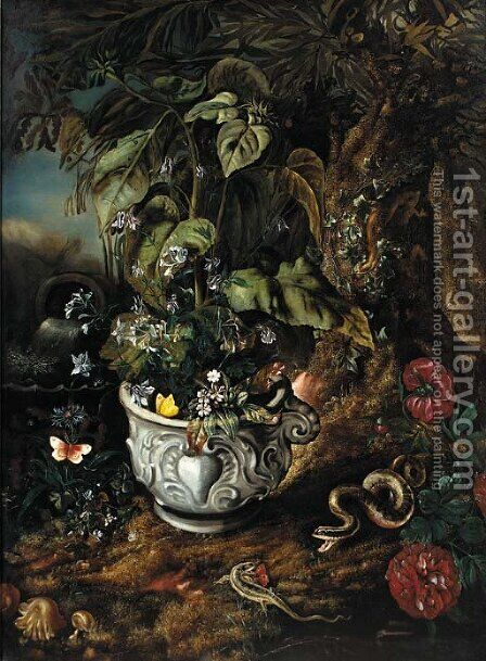 Flowers in a sculpted urn by Isaak Vromans - Reproduction Oil Painting