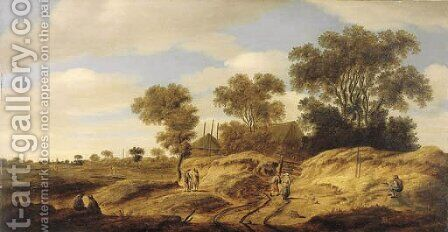 A dune landscape with figures by a farm, church spires in the distance by Isack Van Ruysdael - Reproduction Oil Painting