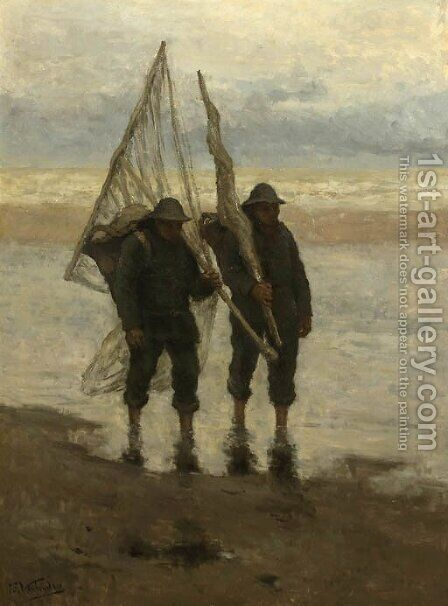 Fishermen on the beach by Isidore Verheyden - Reproduction Oil Painting