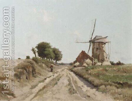 A peasant woman passing a windmill on a sunny day by Isidore Meyers - Reproduction Oil Painting