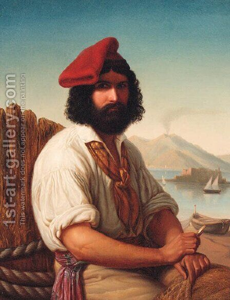 A Neapolitan Fisherman with Vesuvius beyond by Italian School - Reproduction Oil Painting