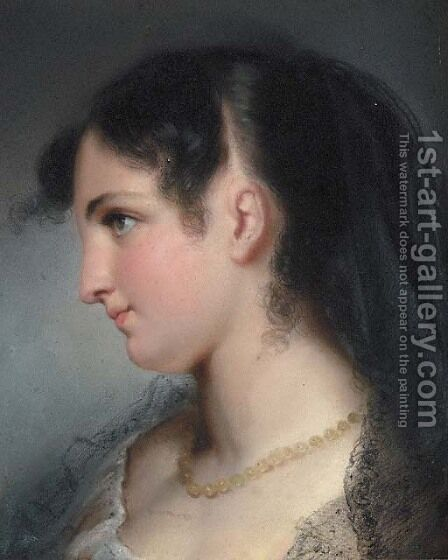 A young Beauty by Italian School - Reproduction Oil Painting