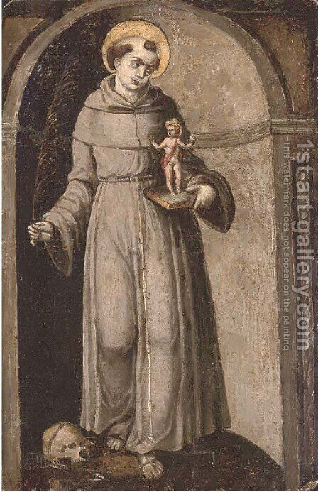 Saint Francis standing in a trompe l'oeil niche by Italian School - Reproduction Oil Painting