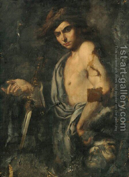 David with the head of Goliath by Italian School - Reproduction Oil Painting