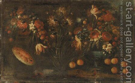Flowers and Fruit by Italian School - Reproduction Oil Painting