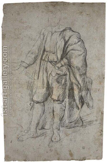 Study of a man wearing a cloak by Italian School - Reproduction Oil Painting