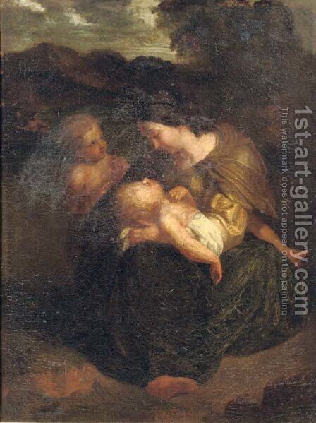 The Virgin and Child with the young Saint John the Baptist in a landscape by Italian School - Reproduction Oil Painting