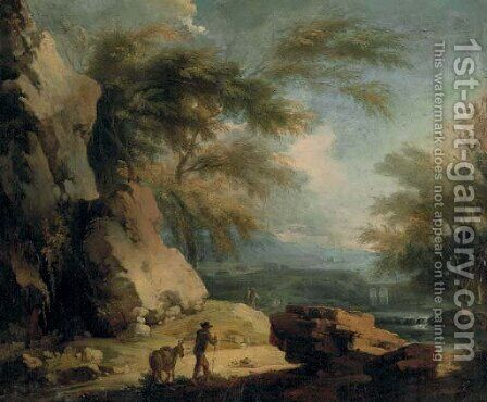 Travelers on a rocky path, an extensive landscape beyond by Italian School - Reproduction Oil Painting
