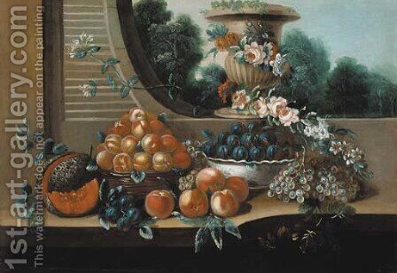 A basket of peaches, with a bowl of plums by Italian School - Reproduction Oil Painting