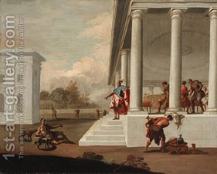 A classical portico with Dives and Lazarus by Italian School - Reproduction Oil Painting