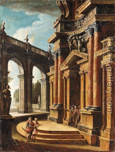 An imaginary courtyard with elegant figures promenading by Italian School - Reproduction Oil Painting