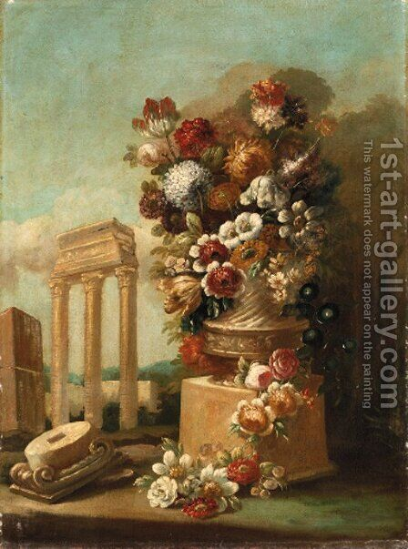 Flowers in ornamental urns on stone plinths amongst classical ruins by Italian School - Reproduction Oil Painting