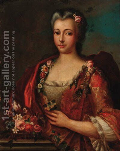 Portrait of a lady, half-length, in a red and grey dress decorated with flowers by Italian School - Reproduction Oil Painting