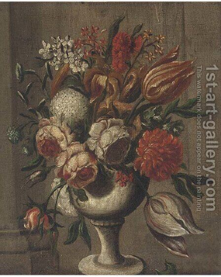 Roses, parrot tulips, chrysanthemums and other flowers in a vase on a ledge by Italian School - Reproduction Oil Painting
