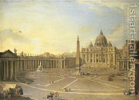 Saint Peter's, Rome, with Bernini's Colonnade and a procession in carriages by Italian School - Reproduction Oil Painting