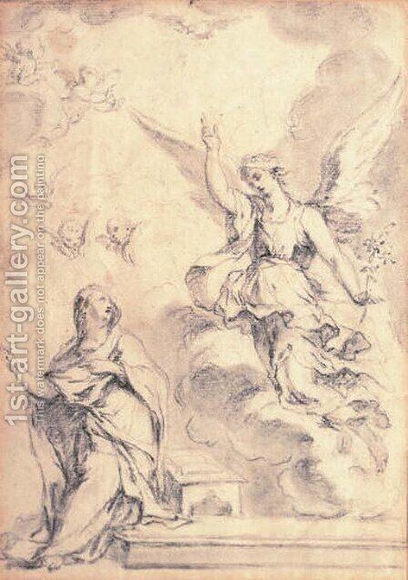 Study of an angel and putti by Italian School - Reproduction Oil Painting