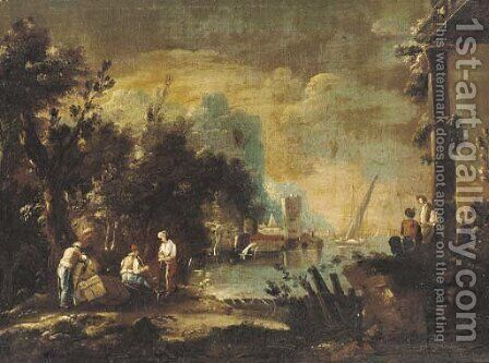 Travellers in an Italianate landscape by Italian School - Reproduction Oil Painting
