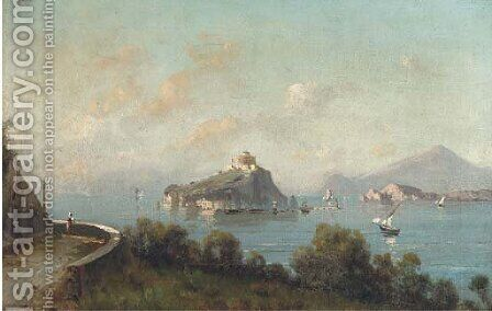 A Neapolitan coastal landscape; and Another similar by Italian School - Reproduction Oil Painting