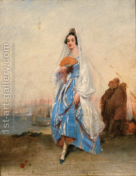 A Venetian beauty by Italian School - Reproduction Oil Painting