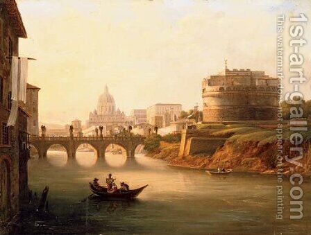 A view of the Tiber with Castel Sant'Angelo, Ponte Sant'Angelo with Saint Peter's beyond by Italian School - Reproduction Oil Painting