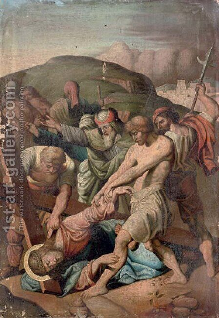 Christ falling under the weight of the Cross by Italian School - Reproduction Oil Painting