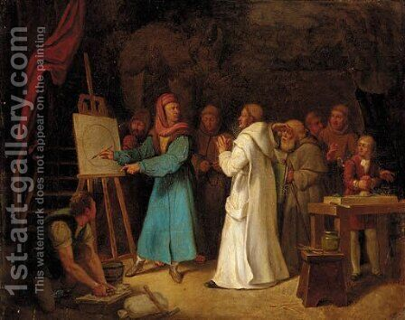 Giotto demonstrating the art of drawing in his studio by Italian School - Reproduction Oil Painting