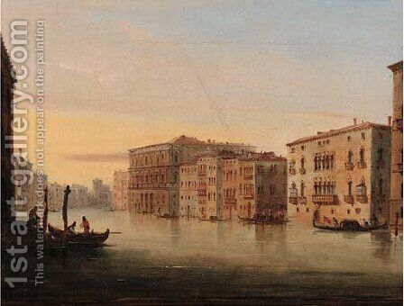 Gondolas on the Grand Canal, Venice by Italian School - Reproduction Oil Painting