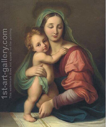 Madonna and Child 2 by Italian School - Reproduction Oil Painting
