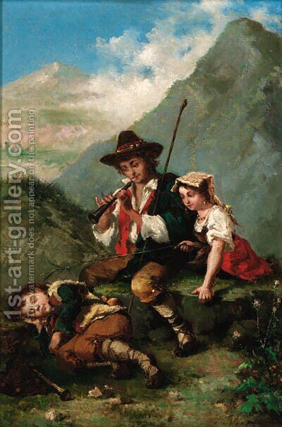 Rousing the sleeping shepherd boy by Italian School - Reproduction Oil Painting