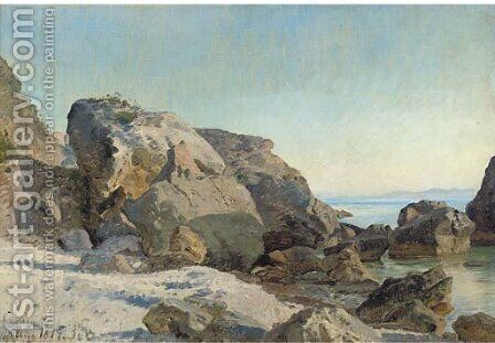 The rocky shore, Capri by Italian School - Reproduction Oil Painting