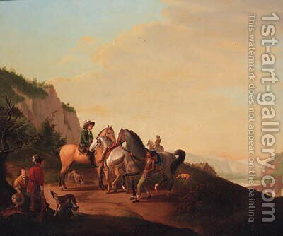 Travellers on a Track in an extensive Landscape by Italian School - Reproduction Oil Painting