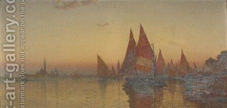 Vessels before Venice at dusk by Italian School - Reproduction Oil Painting