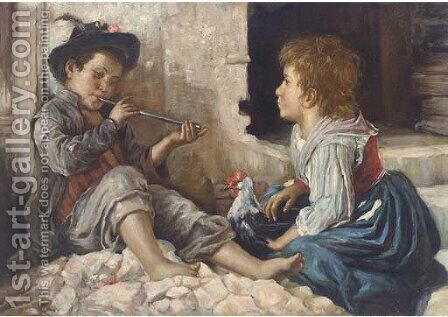 A sweet melody by Italian School - Reproduction Oil Painting