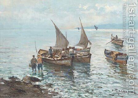 Unloading the day's catch in the Mediterranean by Italian School - Reproduction Oil Painting