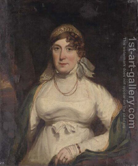 Portrait of a lady, half-length, seated in a white dress by Italian School - Reproduction Oil Painting