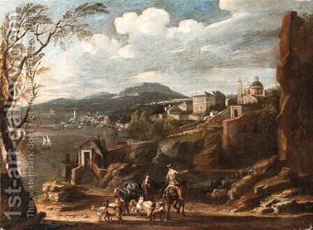 An Italianate coastal Landscape with Travellers conversing on a Path with a Town beyond by Italian School - Reproduction Oil Painting