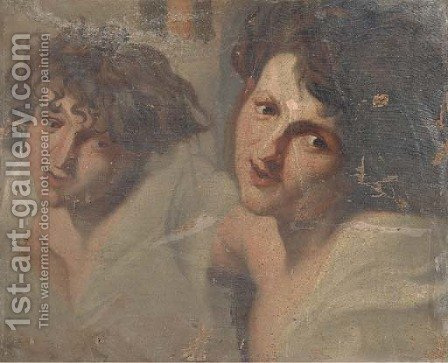 Studies of two male busts by Italian School - Reproduction Oil Painting