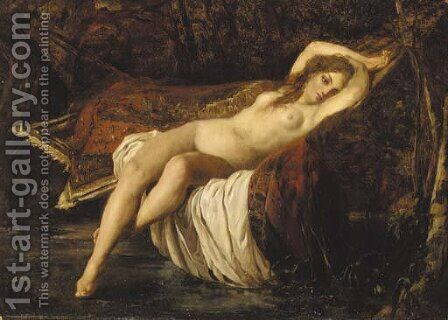 A nude reclining in a hammock by Italian School - Reproduction Oil Painting