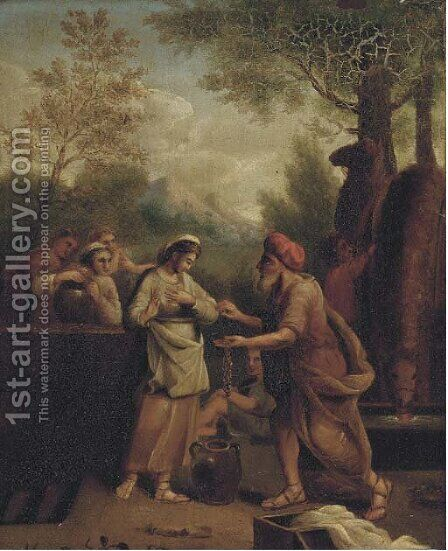 Rebecca and Eliezer at the Well by Italian School - Reproduction Oil Painting